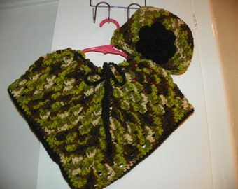 Baby Poncho and Hat set with a Black Flower Girls Poncho Set