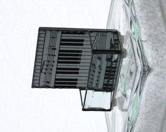 Music Piano Black and White Stained Glass Business Card Holder