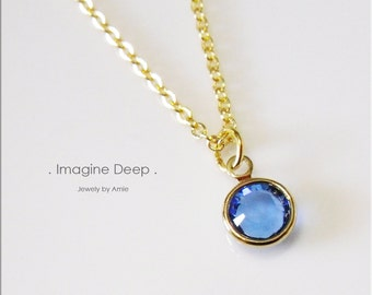 50% off SPECIAL - Blue Pendant Necklace - 17 inch Gold Plated Blue Sapphire Like Swarovski Crystal