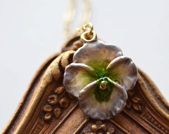 Violet Necklace Flower Floral Bridesmaid Spring Summer Gold Filled Chain Vintage Charm Nostalgic Dainty Delicate