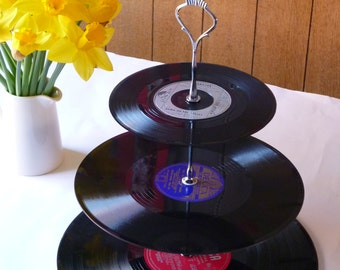 Record Cake Stand 3-tier Vintage Vinyl Record Retro Celebration Server Garden Party Cakestand Music themed party Cupcake stand