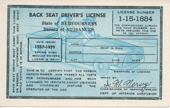 Back seat drivers license state of nervousness bureau of for Bureau licence