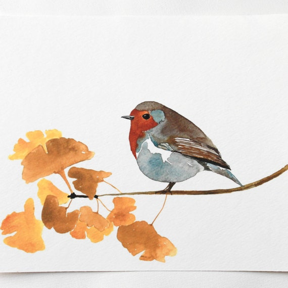 Bird Art English Robin-Enlightenment Limited Edition 5x7 Watercolor Giclee Print