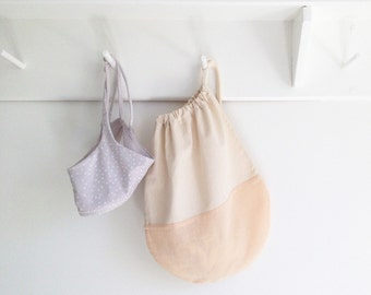 Pale Pink Drawstring Travel Bag - Pale Pink and Ivory or Solid Pale Pink Packing Bag