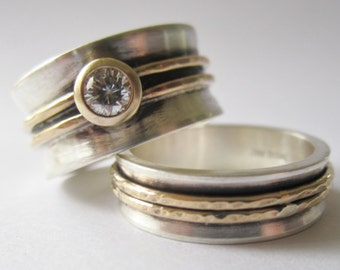 Sterling silver  14kt yellow gold  diamond ring READY TO SHIP 7.5