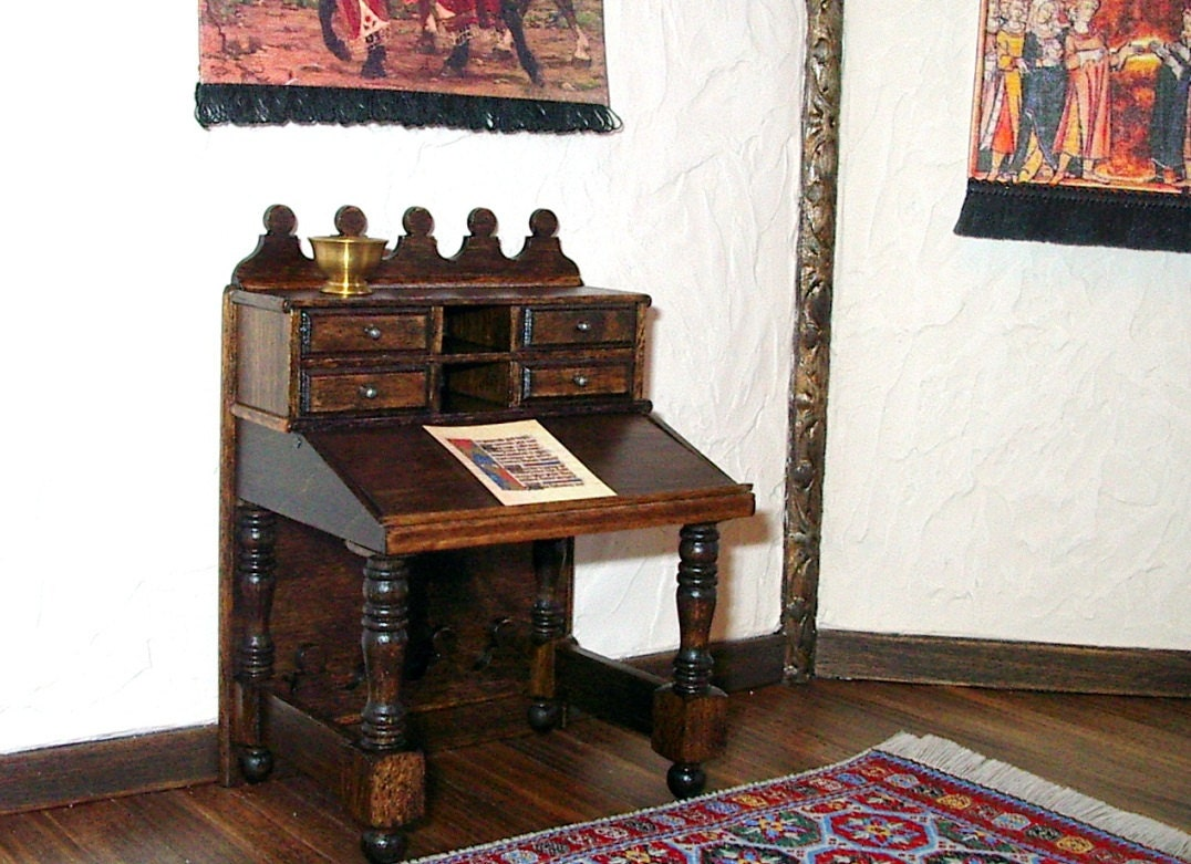 Gothic Desk Writing Table Medieval Dollhouse Miniature 1 12