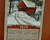 "1970 Vintage ""L.J.Kaye"" Kitchen Towel Cloth Calendar"