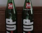 Pair Seven-up Green Glass Bottles, 16 Fluid Ounces