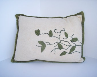 Felted Wool vine embroidered Decorative Pillow, Throw Pillow, Toss Pillow, Accent Pillow, cushion pillow, home decor, interior design
