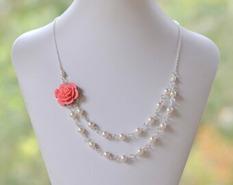 Bridesmaid Jewelry Guava Pink Dainty Double Strand Pearl Necklace.  Fashion Rose Necklace.  Wedding Jewelry. Bridal Party Jewelry.