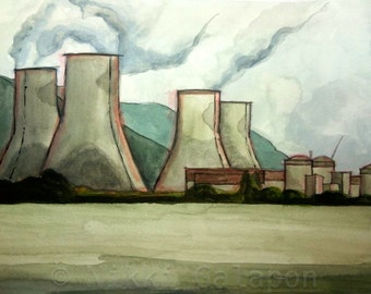 Centrale Nucléaire de Cruas in Cruas, France, GICLEE PRINT of original watercolor painting