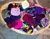 A Basket Full of Crocheted Granny Squares