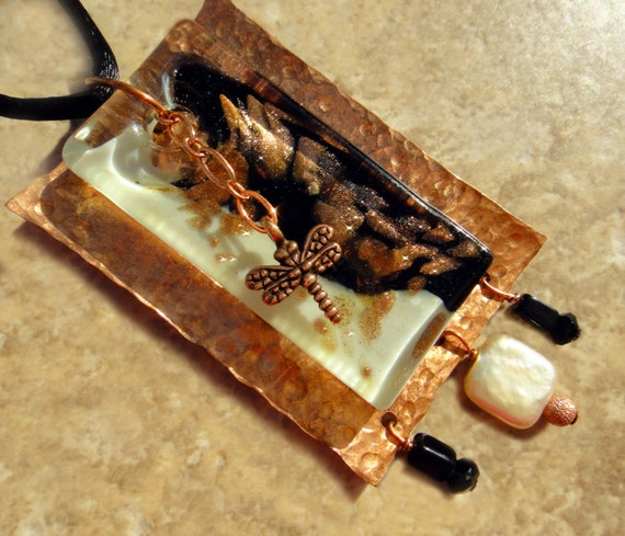 Dichroic Glass Black Onyx White Pearl & Copper Dragonfly Pendant Necklace, OOAK Artisan Handcrafted in America