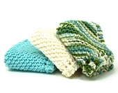 Cotton Knitted Dishcloths Aqua Cream Lakeside