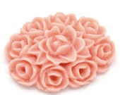6pcs Pale Pink Oval Flower Resin Cabochon -18mm