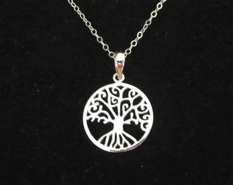 Celtric TREE of LIFE sterling silver round pendant with necklace chain, organic, nature, family necklace