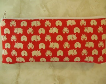 Mini Hippos Pencil Case/cosmetic pouch-Just a few left.