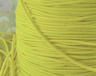 5yds Elastic bands 2mm - Yellow Elastic Cords String Headbands Wristbands elastic by the 5yd yard exx