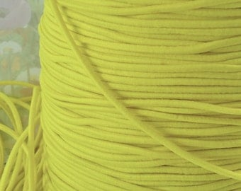 5yds Elastic bands 2mm - Yellow Elastic Cords String Headbands Wristbands elastic by the yard