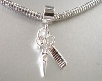 Hairdressing Scissors and Comb 3D Sterling Silver Salon Charm Fits All Slide On Bracelets