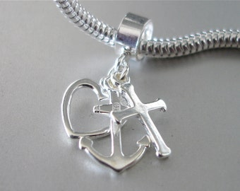 FAITH HOPE and CHARITY 3pc Sterling Silver Charm Fits All Slide On Bracelets