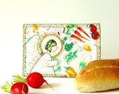 Dinner party card, Culinary Art, Vegetarian postcard, angel at my table, colorful art card, art deco cards, handmade card, kitchen art cards