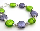 Lavender and Lime Bracelet Sassy Spring Bracelet  Sterling Silver Foil Glass Beads Handmade Jewelry