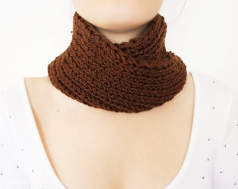 Brown Scarf Knit Scarf Unisex Scarf Cowl scarf, knit scarf  Chunky Scarf Infinity Scarf Circle Scarf Winter Accessories