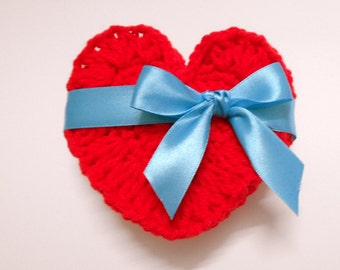 Crochet Heart Coasters Valentine, Hot Red color, Water absorbing Acrylic yarn, set of 2
