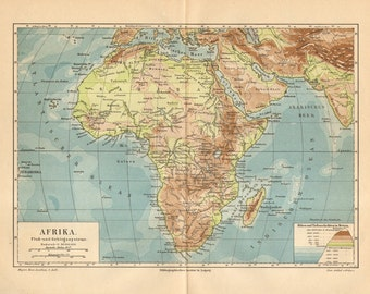 1886 Antique Relief Map of Africa and Madagascar