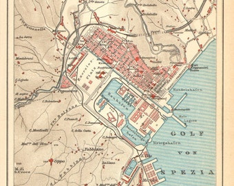1905 Antique Dated Map of La Spezia, Italy