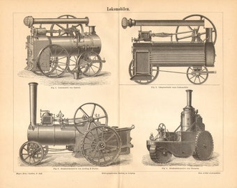 1890 Antique Engraving of Agricultural Engines - Steam-powered Tractors - by Garret, Aveling & Porter, Thomson from the 19th Century