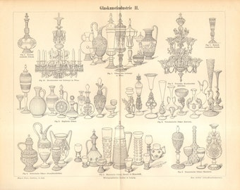 1895 Glass Artistry, Vases, Bottles, Craters Original Antique Engraving