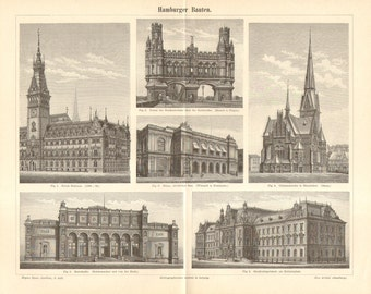 1895 Architecture - The Most Impressive Buildings in Hamburg Antique Engraving to Frame