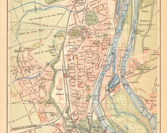 1902 Antique Dated City Map of Magdeburg, German Empire
