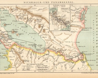 1904 Original Antique Map of Nicaragua and the Panama Canal in the Year of its Constructions