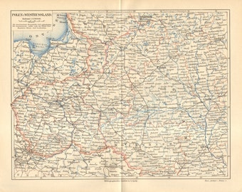 1889 Original Antique Dated Map of Poland and the Western Part of the Russian Empire