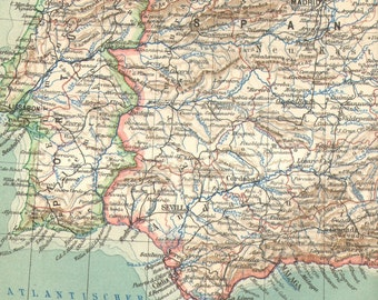 1905 Original Antique Map of Spain and Portugal