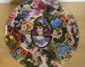 Vintage Tin - Huntley Palmers Round Biscuit Tin - Victorian Style Flowers Cameos