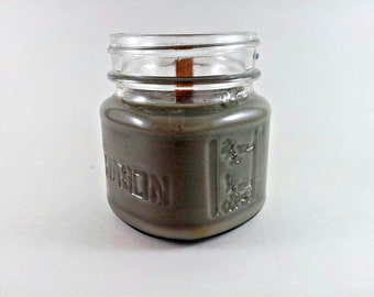 Scented Soy Candle - Mason Jar Candle -  Crackling Firewood Timber Wick - 8oz