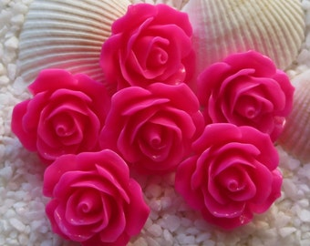 Resin Flower Cabochon - 17mm - 12pcs - Hot Pink