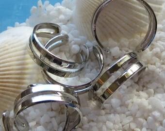Brass Ring Component - Platinum Plated - Adjustable - 10 pcs