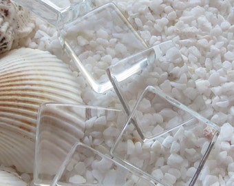 Glass Pendant Tile - Rectangle - 19mm x 24mm - 12 pcs