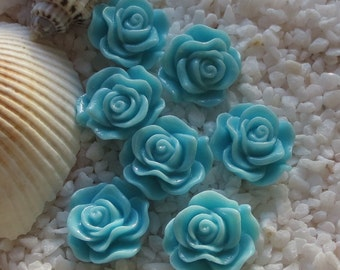 Resin Rose Flower Cabochon - 12mm - 30 pcs - Turquoise  Blue