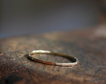 Delicate gold ring, solid 14k gold skinny stacking ring, eco friendly, yellow gold band, thin gold band, size 4 to 9