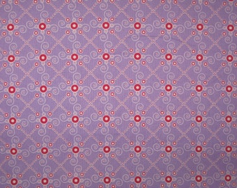 Tante Ema Design from Germany Purple Red White dot  fabric 1 yard