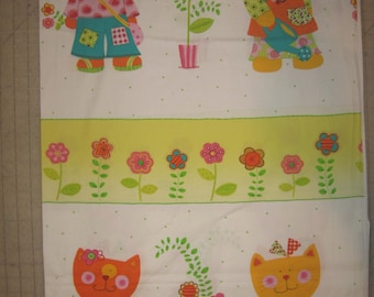 """Large cats on white  fabric imported from Korea 54"""" X 44"""""""