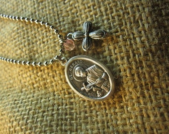 "St. Gerard Necklace Saint of Expectant Mothers with cross and bead 18"" chain"