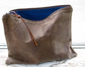 SALE // The Traveler Clutch // waxed canvas pouch // COCOA