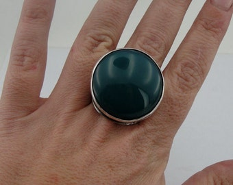 Hadar Jewelry Handcrafted Israel Art Sterling Silver Huge Green Agate Ring size 8.5 (H 186)